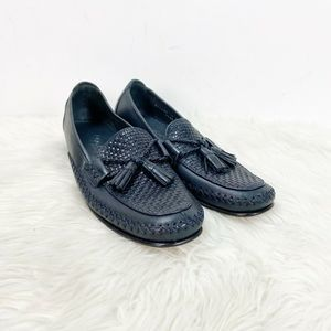 Cole Haan Dark Navy Weave Leather Tassel Loafers